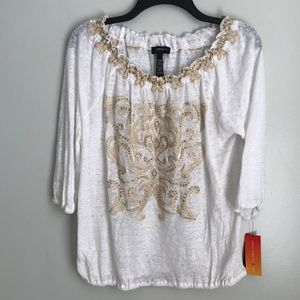 New INC Linen Embroidered Embellished Blouse